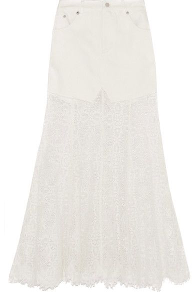 McQ Alexander McQueen - Denim And Lace Skirt - Ivory - IT38