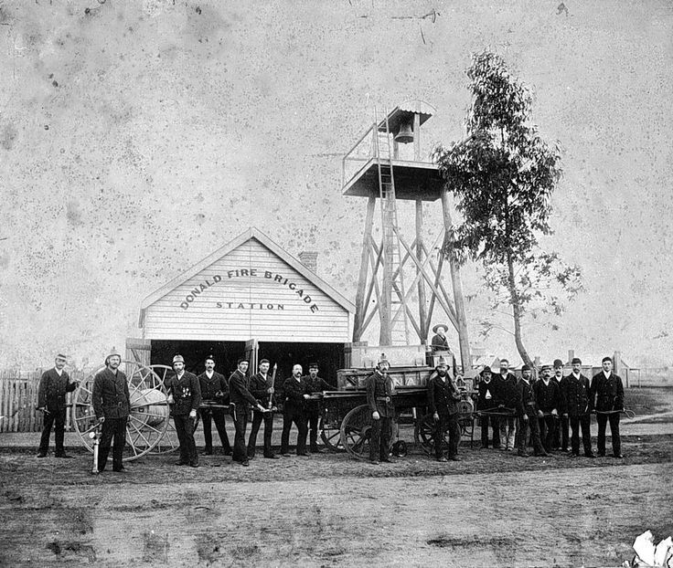 Firemen in front of the Donald Fire Brigade Station.- Donald, Victoria, 1890 - Museum Victoria
