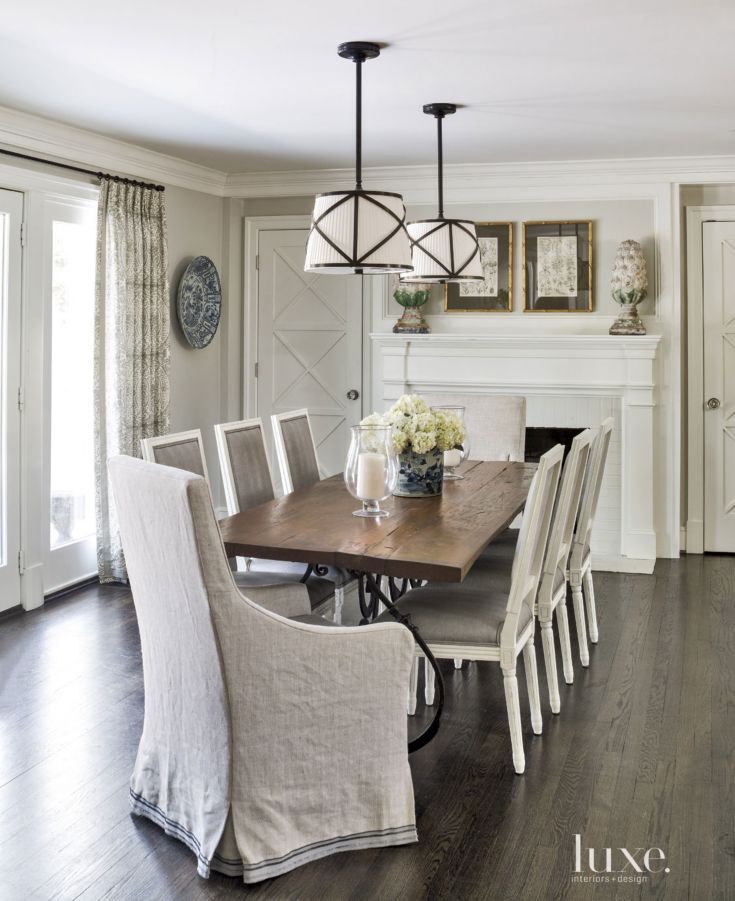 Contemporary Cream Informal Dining Room