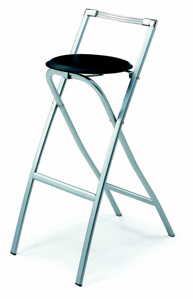 STOOL G-29. Barstool for your bar table unit of your choice. It is a folding barstool  Powder coating on metal parts. PVC seat.