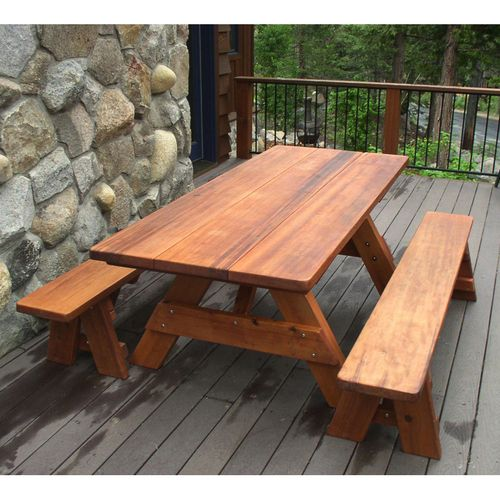 Wonderful Redwood Outdoor Heritage Picnic Table