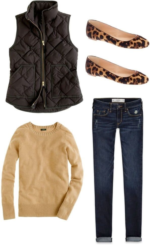 Fall outfit, camel tan sweater top, black quilted vest, leopard flats, dark denim