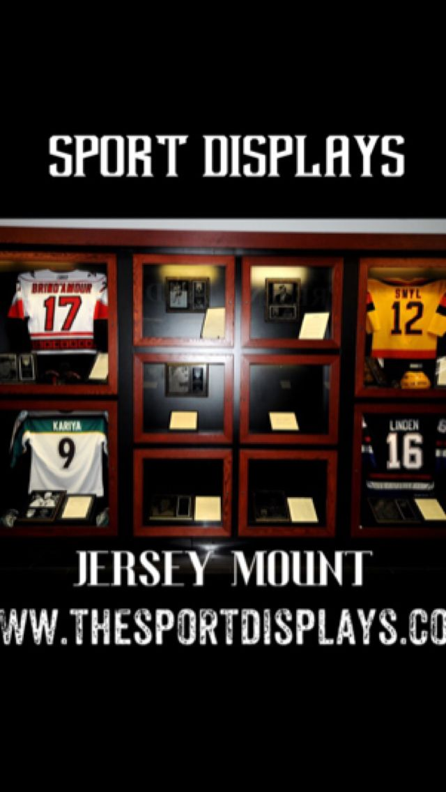 Sport Displays Jersey Mount System! Attaches to the wall or ceiling! No screws necessary! (3m command strips) Only Jersey Mount that does not need screws for installation! Custom colours and branding available! Get yours at www.thesportdisplays.com