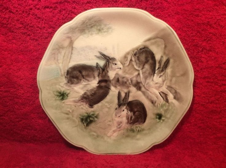 Antique H&B Choisy Le Roi Majolica Bunny Rabbit Plate c.1900, fm1117 #HautinBoulenger