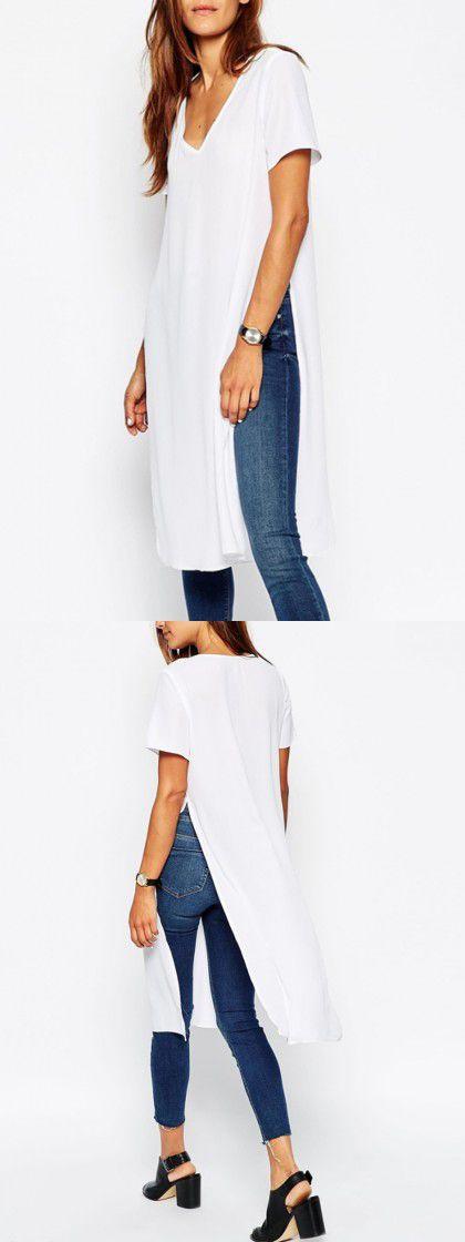 White V Neck Slits Side Long T-shirt
