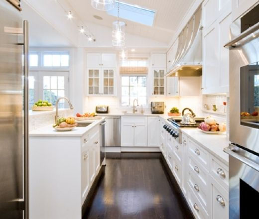 Transitional Galley Style White Kitchen, White Cabinets