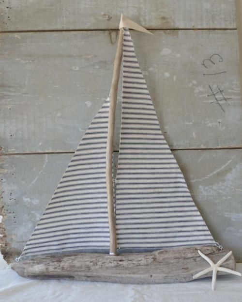 DIY sailboat - Ticking fabric and driftwood.