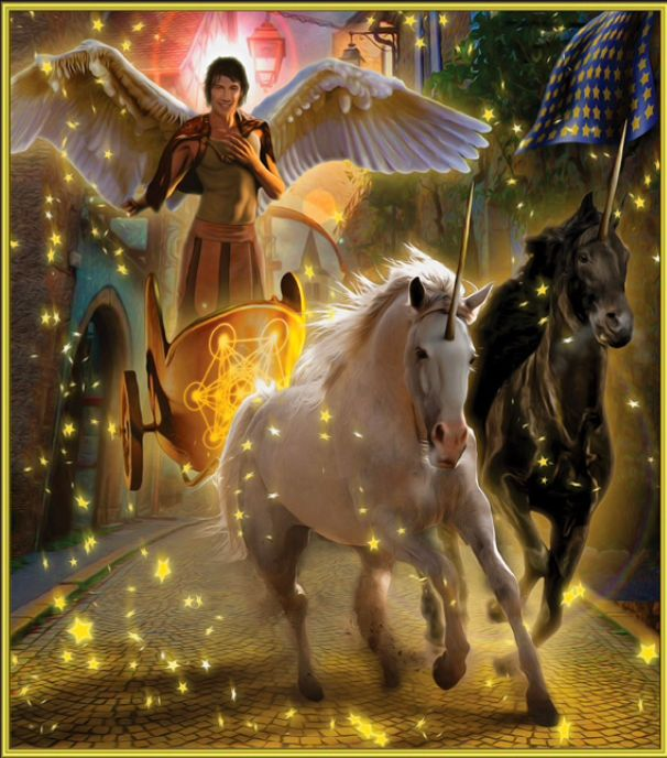 """Archangel Metatron oversees the Merkaba, or Metatron's Cube."""" This magical creation is also called the """"chariot of God"""" and is displayed on the front of the chariot depicted on this card. Focus on the image of the Merkaba and then call upon Metatron when you have a desire you wish to see come to fruition. He can help you manifest a successful result in record time!"""