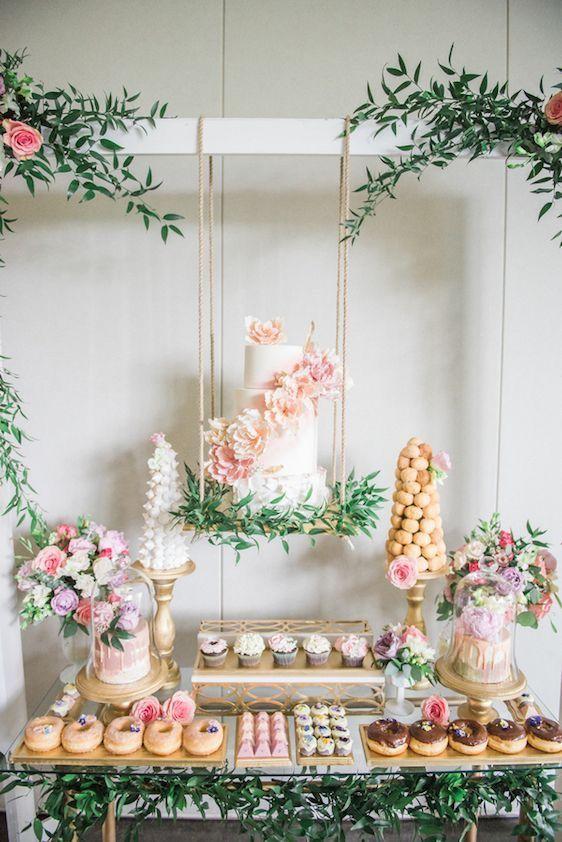 Gorgeous dessert display for a bridal shower or wedding