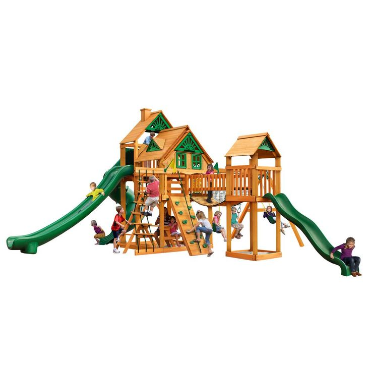 Gorilla Playsets Treasure Trove II Treehouse Swing Set with Amber Posts, Browns/Tans