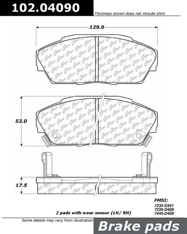 Brand:Centric Part Number:102.04090 Category:Brake Pad  Price : $12.06 2Years Warranty,lowest Prices On Acura Brake pads