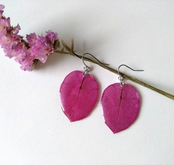 Drop Fuchsia Earrings Dangle Earrings Real Flower Earrings Etsy In 2020 Etsy Earrings Floral Jewellery Flower Jewellery