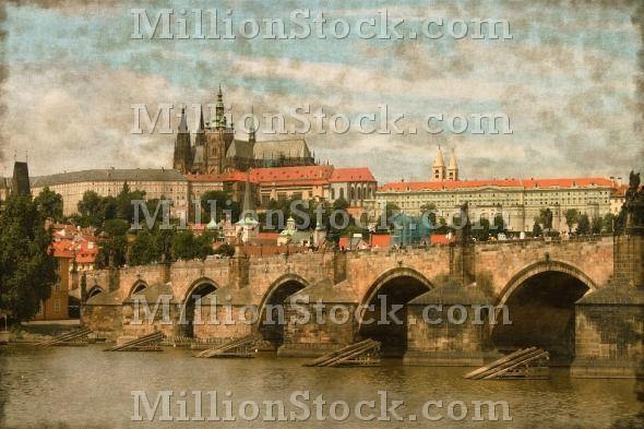Vintage image of Charles Bridge with Prague castle in background