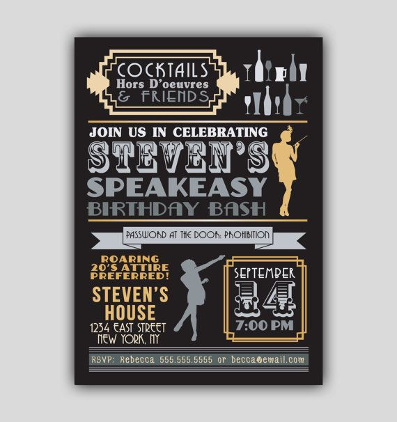 Speakeasy Prohibition 1920s Art Deco Invitation
