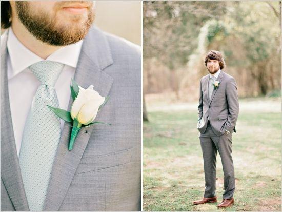 charcoal and mint groomsman looks