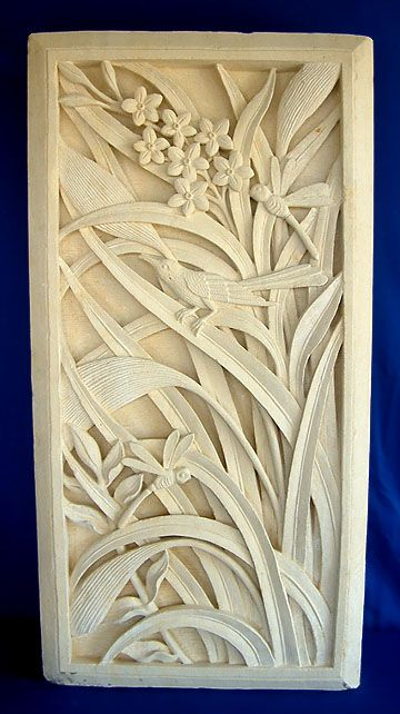 Wholesale from Bali: Stone Carvings -- Wall Plaques -- Carved Limestone Wall Plaque -- Also available in custom sizes. -- STCP-0053 by Indonesia Export