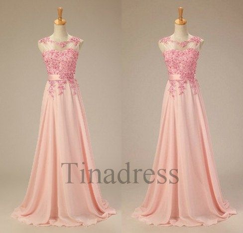 Custom Pink Applique Beaded Long Prom Dresses Fashion Evening Dresses Evening Gowns Party Dresses Bridesmaid Dresses Wedding Party Dress