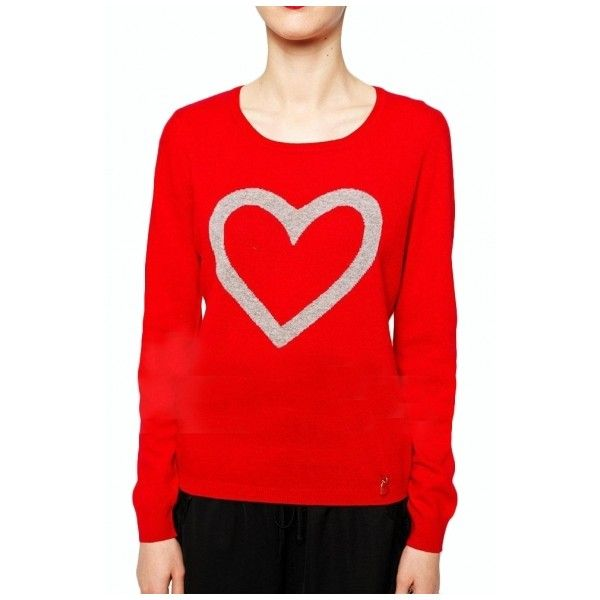 Heart Jacquard Round Neck Long Sleeve Fitted Sweater ($24 ...