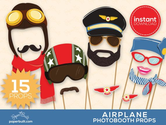 Airplane Photo Booth Props - Airplane Birthday, Aviator Photobooth, Foto Booth, Photobooth Props, Planes, Airplane Party, Avion - 15 Props