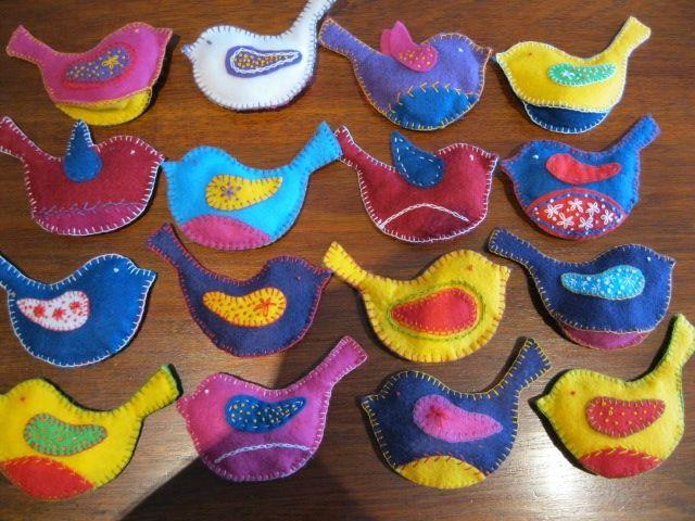 Embroidered felt birds