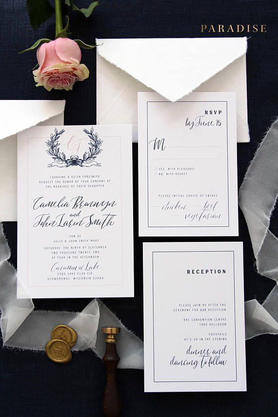 handcrafted wedding stationery uk%0A Camelia Navy and Blush Wedding Invitation Sets  Invitation Set Templates or  Printed Invitation Sets  Handmade Envelopes