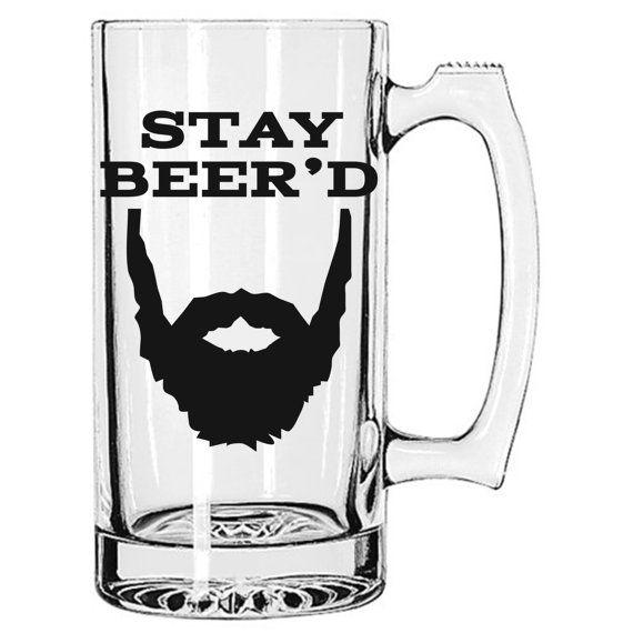 stay beeru0027d the original 25 oz beer mug beard beer mug dad son husband winter manly gift kitchen vinyl groomsmen wedding humor - Glass Beer Mugs