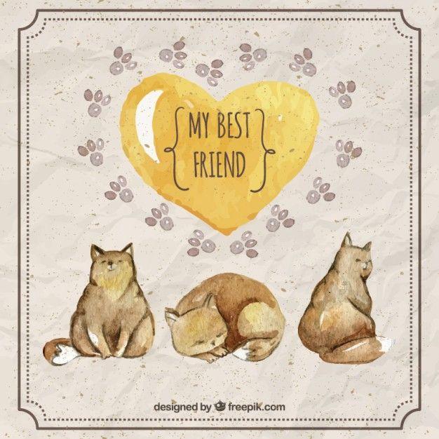 gatos bonitos da aguarela com um coração amarelo Vetor grátis