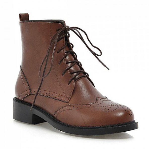 Retro Women's Short Boots With Lace-Up and Hollow Out Design