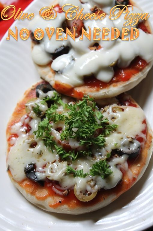 YUMMY TUMMY: Olive and Cheese Pizza Recipe - Tawa Pizza - Pizza without Oven