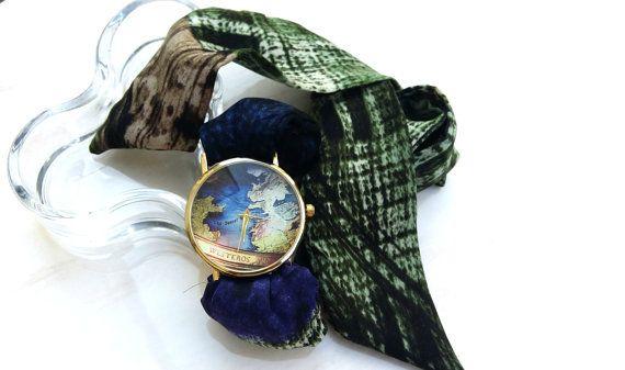 Womens Silk Wrap Around Bracelet Watch Boho by HarmonyHourWatches