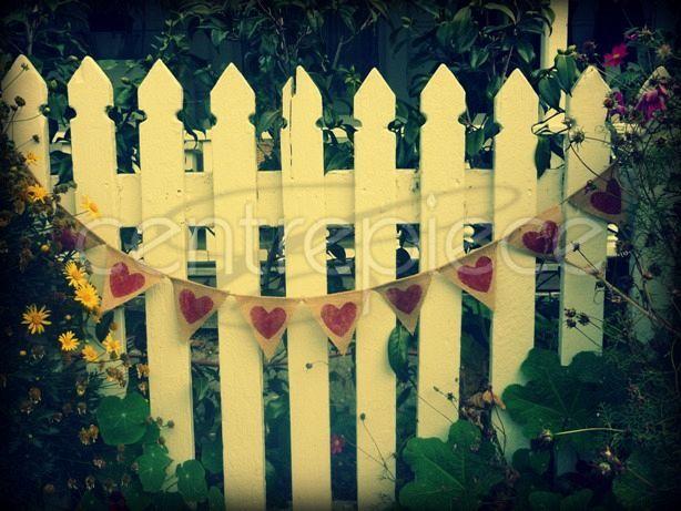 Bunting Hearts - Hessian