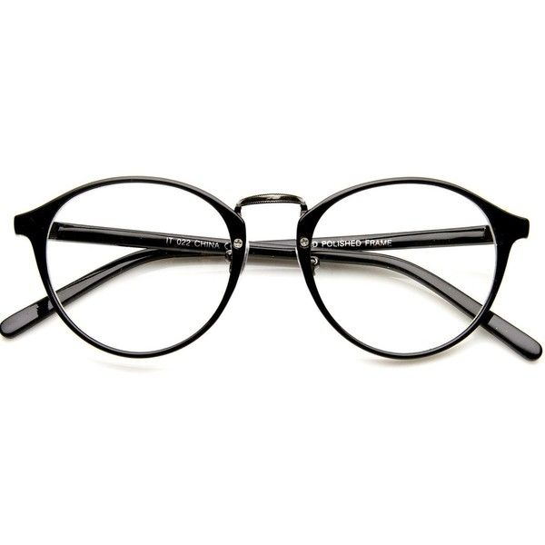 Vintage Dapper Indie Fashion Clear Lens Round Glasses 8768 (€9,20) ❤ liked on Polyvore featuring accessories, eyewear, eyeglasses, clear lens wayfarer, vintage glasses, vintage round glasses, vintage eye glasses and clear lens glasses