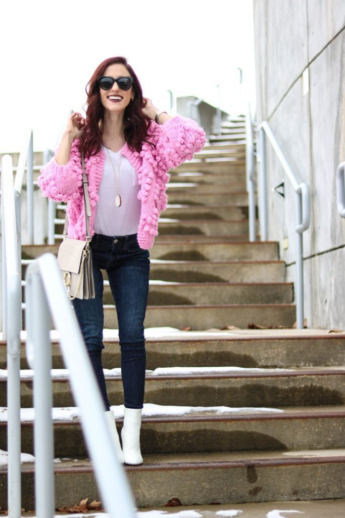 Winter POWER OUTFIT + Q1 Playlist! - Cute winter outfit, pink cardigan, white booties, winter outfit inspiration, cute winter outfit inspiration, winter outfits dressy, winter outfits casual