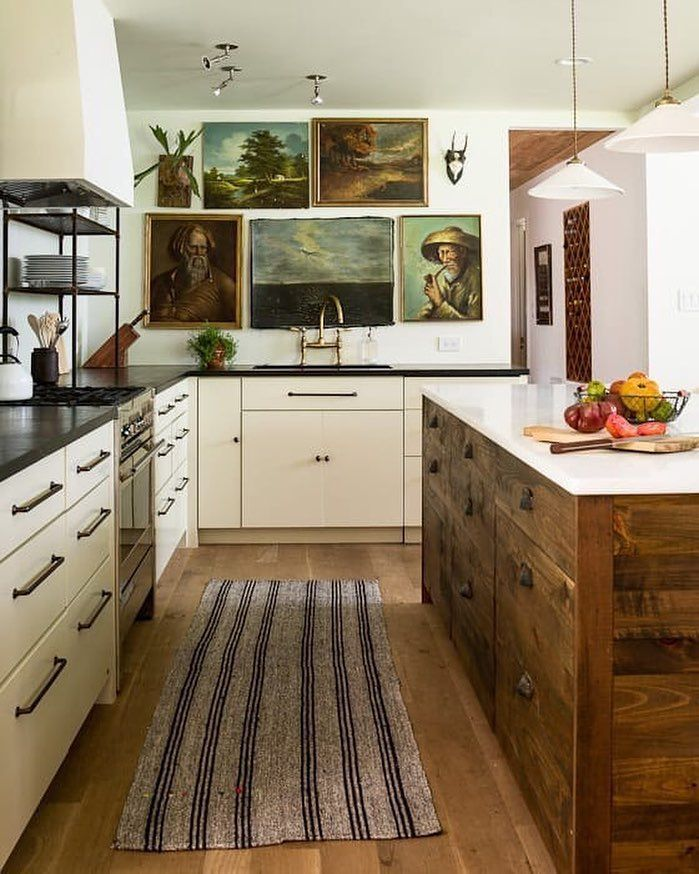 Modern Vintage Kitchen With Reclaimed Wood Oil Painting Art