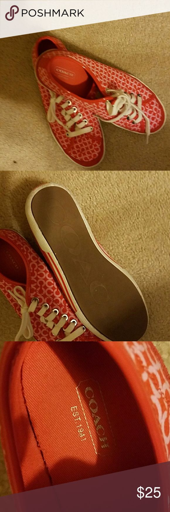 Coach red tennis shoes size 8M Cute red and pink canvas tennis shoes.  Fun for spring and summer. Coach Shoes Athletic Shoes
