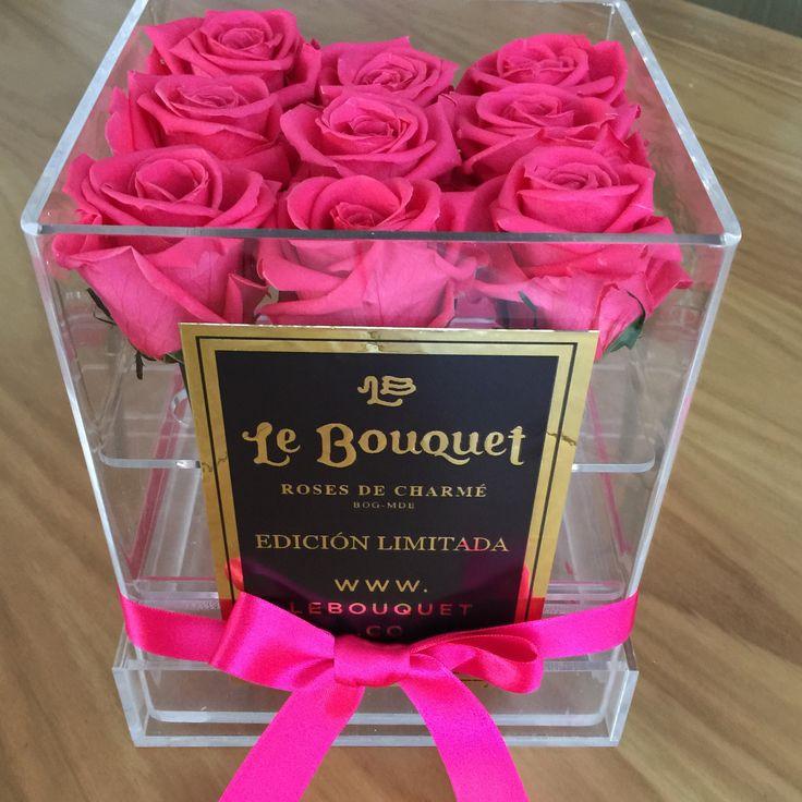 💗 Presentación en acrílico con 9 rosas están que duran 1 año Le Bouquet 💗