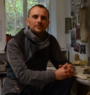 Portrait of Matthew Harris collage and textile artist