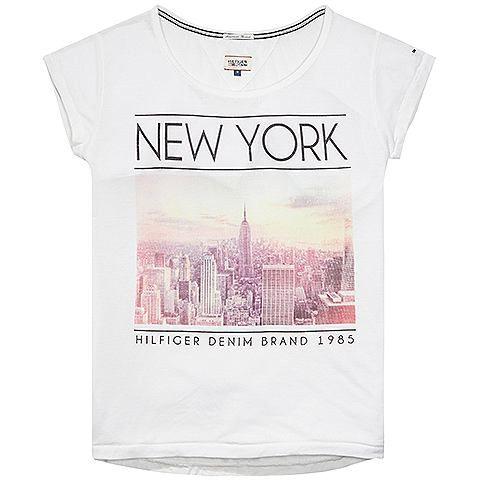 Modernes Print T-Shirt Rada mit Rundhalsausschnitt und Vorderprint. Das Logostitching befindet sich auf dem Ärmel.65% Polyester, 35% Baumwolle...