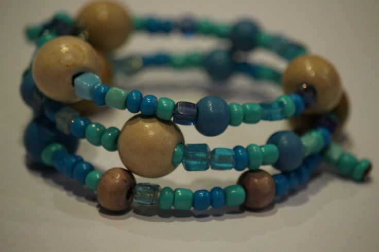 turquoise and wooden memory wire bracelet by 1OfakindHomemade on Etsy