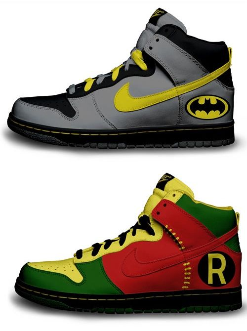 the question is, would i let the hubby wear the Batman ones? ;) Custom Nike designs.
