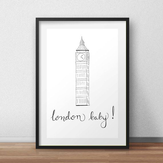 London print  London baby  Instant download  by HomeDecorDrawing