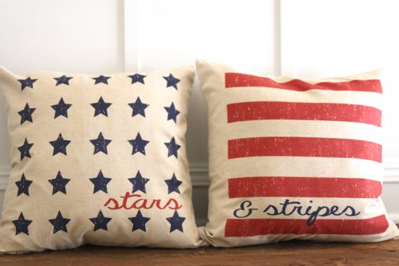 Stars and Stripes American Flag Pillow Cover Set by SoVintageChic