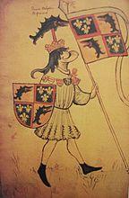 """Représentation héraldique du dauphin Louis, futur Louis XI (vers 1450) -Sa nature """"sournoise"""" lui valut  le sunom d'""""universelle aragne"""". Son règne voit le rattachement de plusieurs  principautés au domaine royal : duché de Bretagne (1475, Traité de Senlis), des ducs de Bourgogne (1477, confirmé en 1482 par le traité d'Arras avec Maximilien 1° de Habsbourg), Maine, Anjou, Provence en 1481 par la mort sans héritier de Charles V d'Anjou, et une partie des domaines de la maison d'Armagnac."""