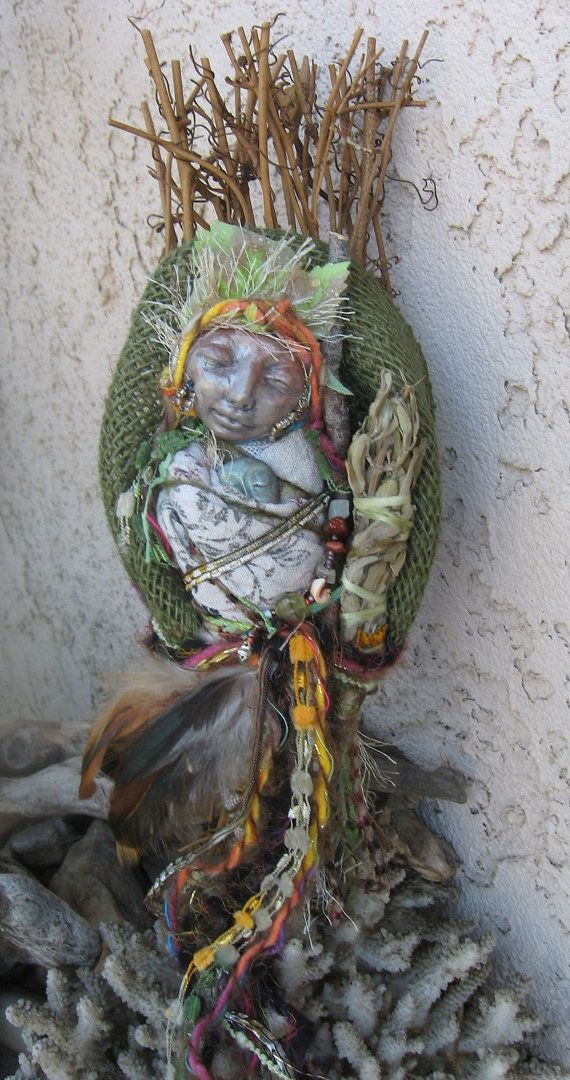 Cottage Kitchen Witch Besom  Art Doll Assemblage by awesomeart