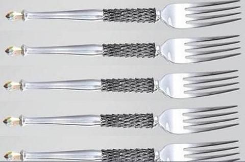 Pewter Hand crafted. Diana Carmichael Design. fork Clear (Set of 6) & pouch - Crystal d' Afrique Collection. GoodiesHub.com