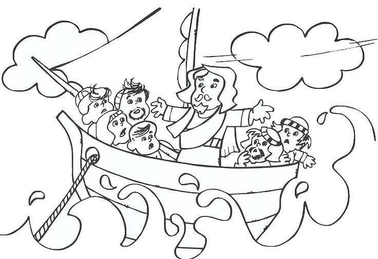 Desenhos Evangelicos Para Colorir A Tempestade Chegada A