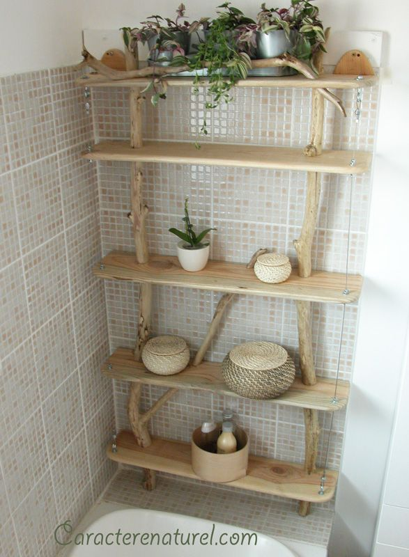 Tag res en bois and tag res on pinterest for Etagere bois pour salle de bain