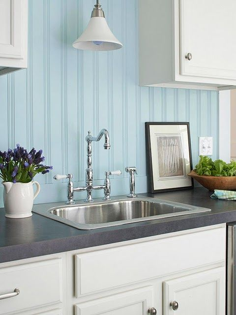 Love The Aqua Beadboard And Wide Board Trim On The Backsplash Beadboard Backsplashbacksplash Ideaskitchen