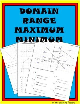 Domain and range are ALWAYS on standardized tests and it seems like they are ALWAYS neglected by the textbook manufacturer's. This pack of 2 worksheets contains graphs that students must analyze and determine the domain, range, maximum, and minimum. Graphs include linear, curves, and graphs where the max and min are NOT the endpoints of the graphs (these always seems to give students trouble).