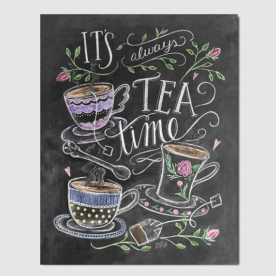 Tea Lover Gift – It's Always Tea Time – Tea Party Decor – Kitchen Art – Chalkboard Art – Kitchen Print – Chalk Art – Kitchen Chalkboard